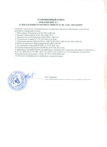Таможенный Союз Приложение №1 к декларация о соответствии ТР-ТС-032-ТУ-023-2